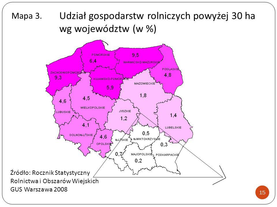Udział gospodarstw rolniczych powyżej 30 ha wg województw (w %)