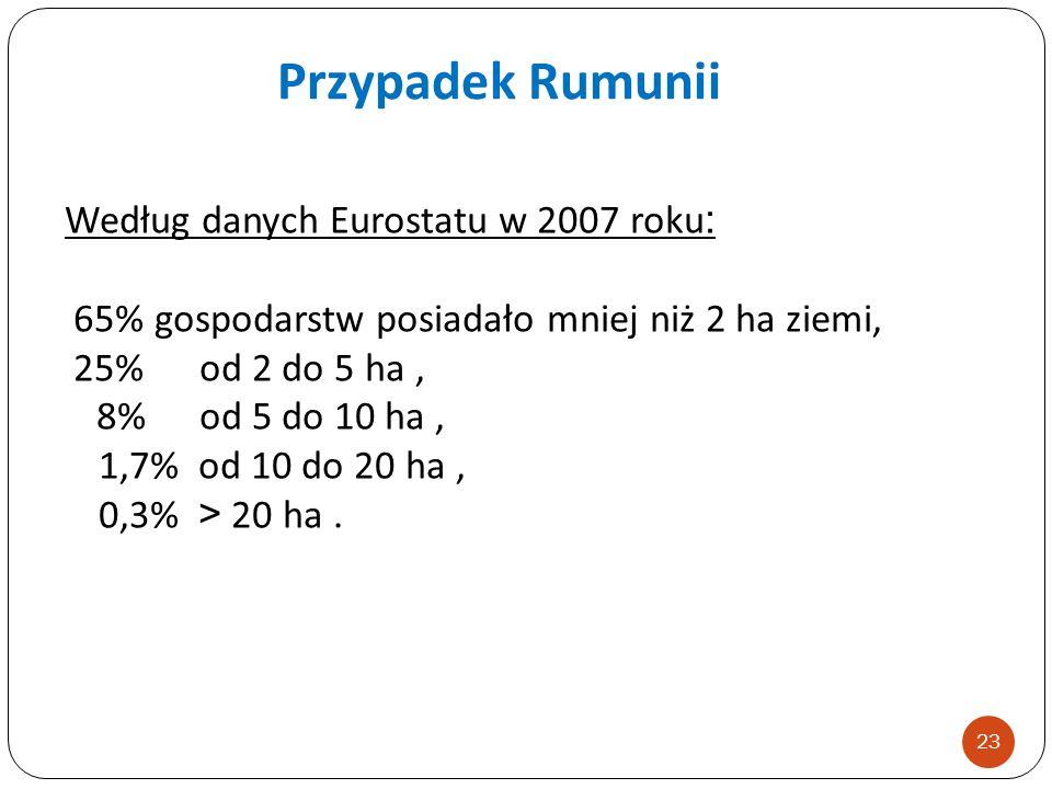 Przypadek Rumunii Według danych Eurostatu w 2007 roku: