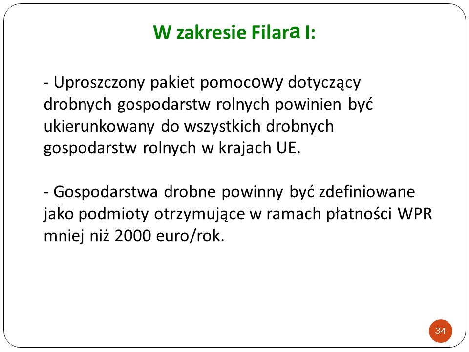 W zakresie Filara I: