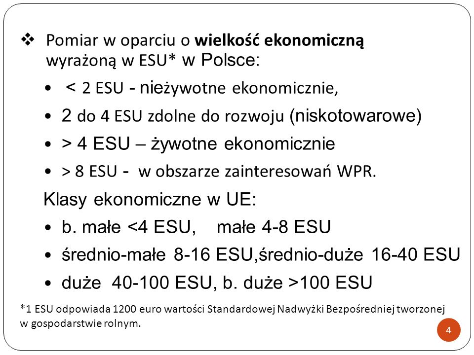 Pomiar w oparciu o wielkość ekonomiczną wyrażoną w ESU* w Polsce: