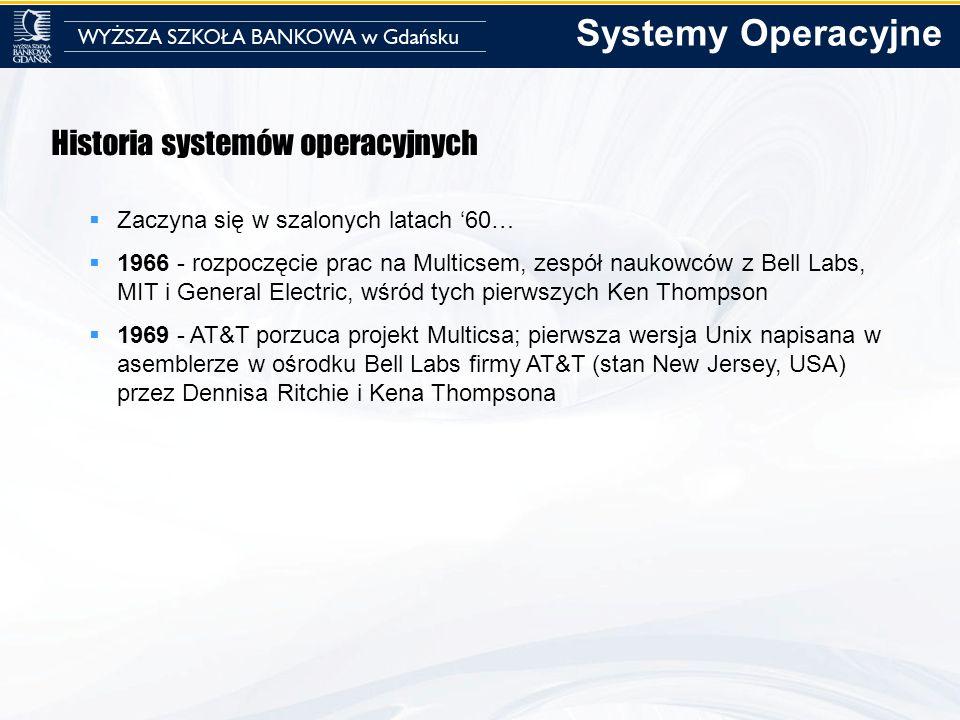 Systemy Operacyjne Historia systemów operacyjnych