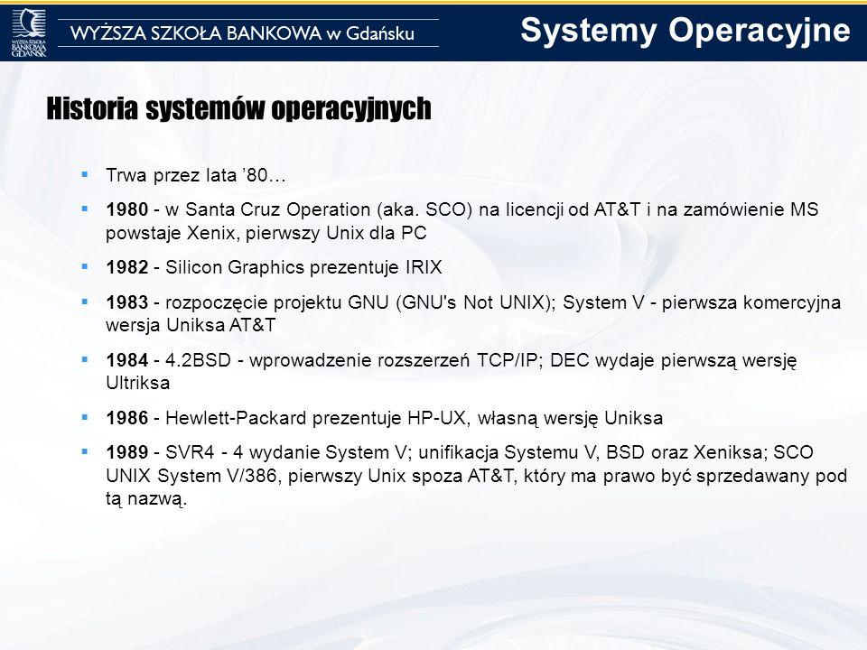 Systemy Operacyjne Historia systemów operacyjnych Trwa przez lata '80…