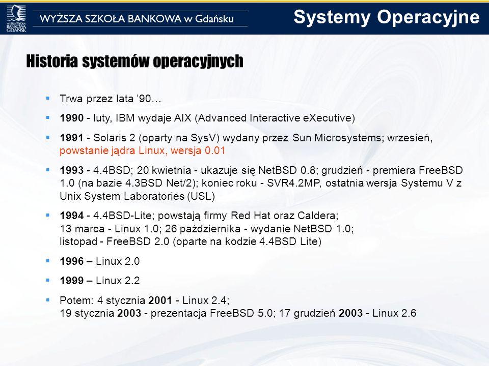 Systemy Operacyjne Historia systemów operacyjnych Trwa przez lata '90…