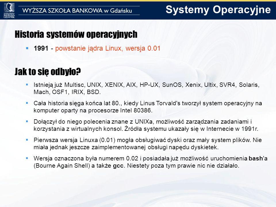 Systemy Operacyjne Historia systemów operacyjnych Jak to się odbyło
