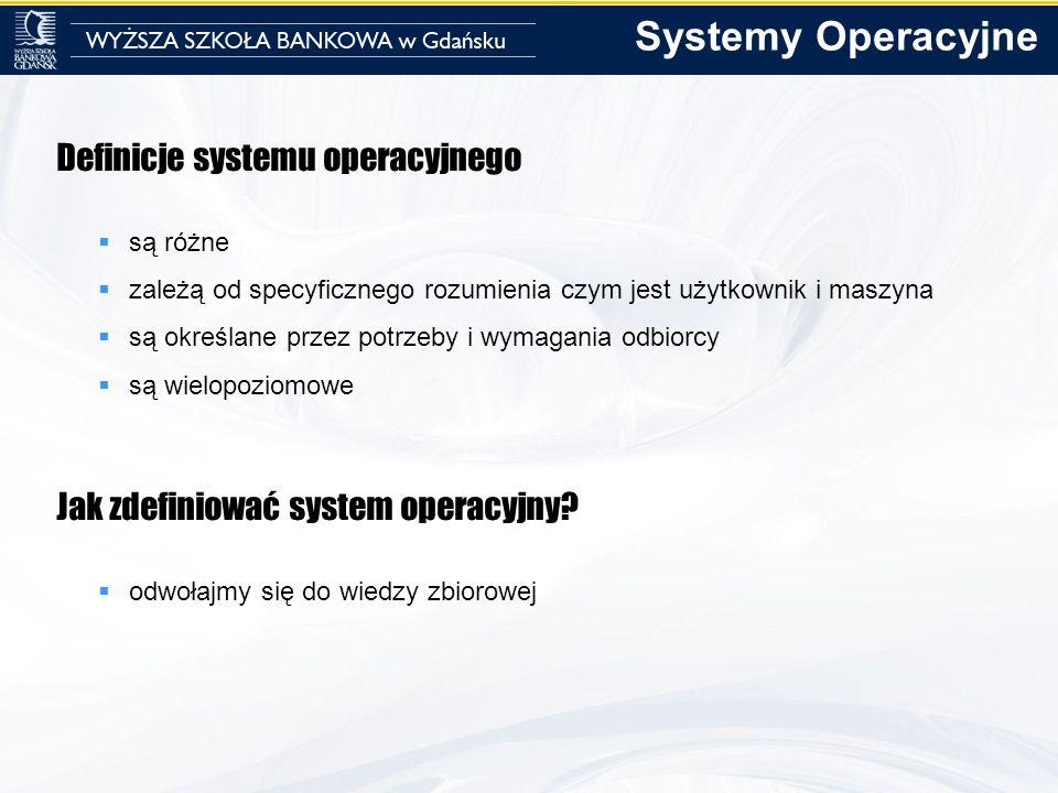 Systemy Operacyjne Definicje systemu operacyjnego