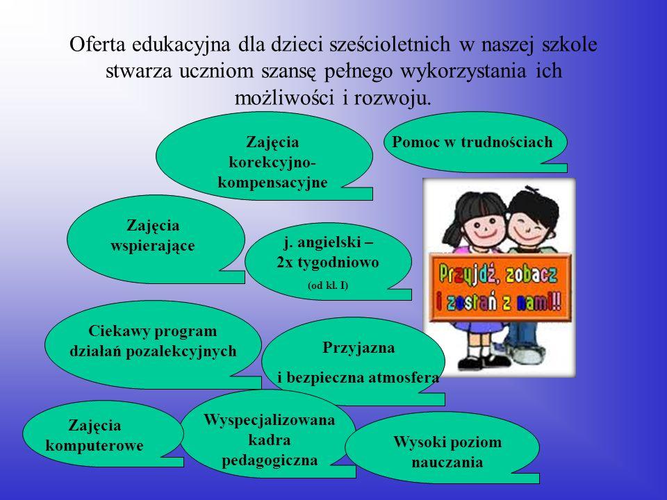 Oferta edukacyjna dla dzieci sześcioletnich w naszej szkole stwarza uczniom szansę pełnego wykorzystania ich możliwości i rozwoju.