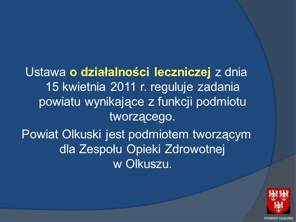 Ustawa o działalności leczniczej z dnia 15 kwietnia 2011 r