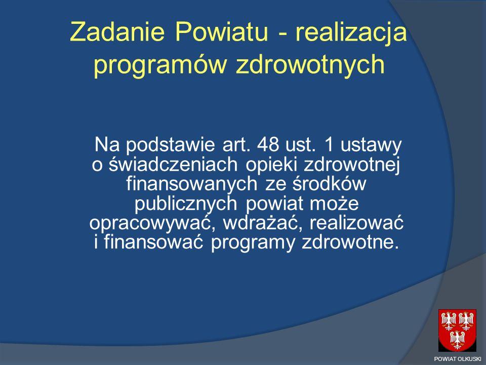 Zadanie Powiatu - realizacja programów zdrowotnych