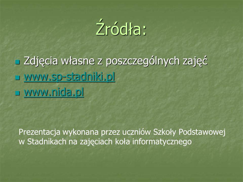 Źródła: Zdjęcia własne z poszczególnych zajęć www.sp-stadniki.pl