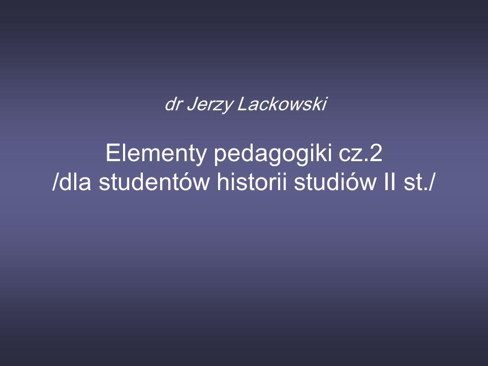 Elementy pedagogiki cz.2 /dla studentów historii studiów II st./