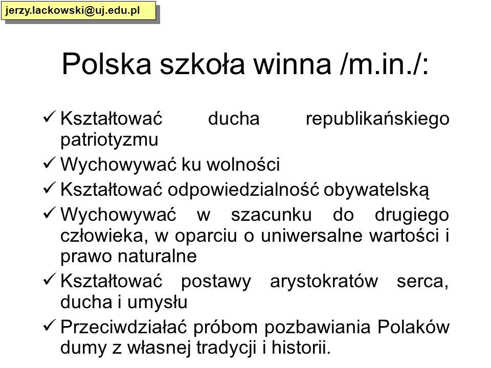 Polska szkoła winna /m.in./: