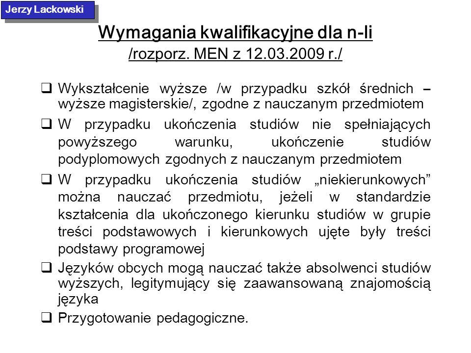 Wymagania kwalifikacyjne dla n-li /rozporz. MEN z 12.03.2009 r./