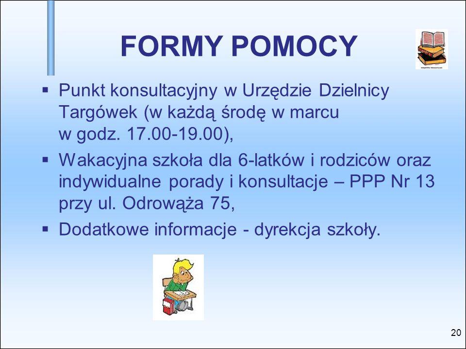FORMY POMOCY Punkt konsultacyjny w Urzędzie Dzielnicy Targówek (w każdą środę w marcu w godz. 17.00-19.00),