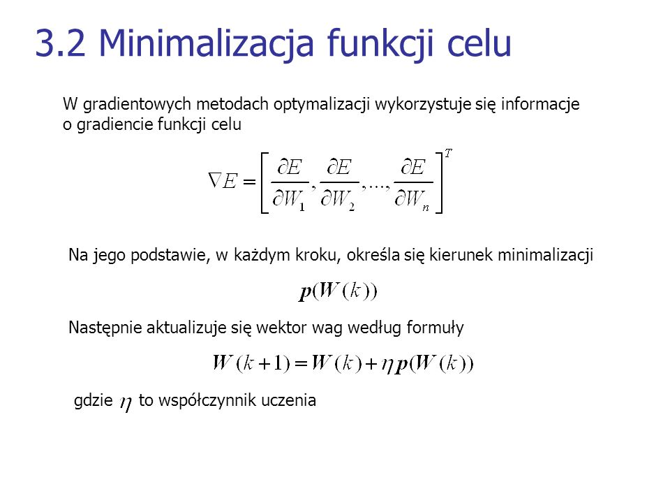 3.2 Minimalizacja funkcji celu