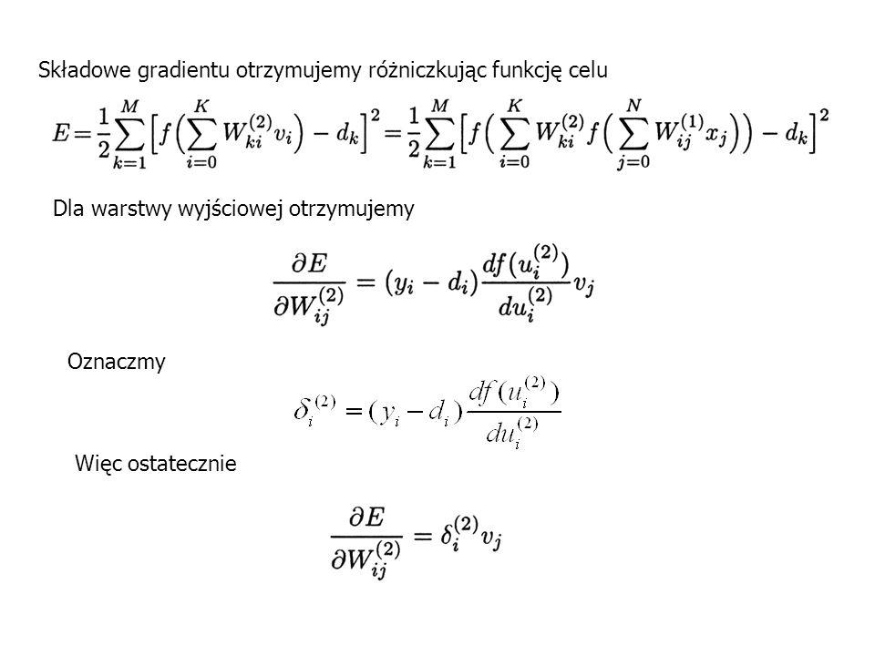 Składowe gradientu otrzymujemy różniczkując funkcję celu
