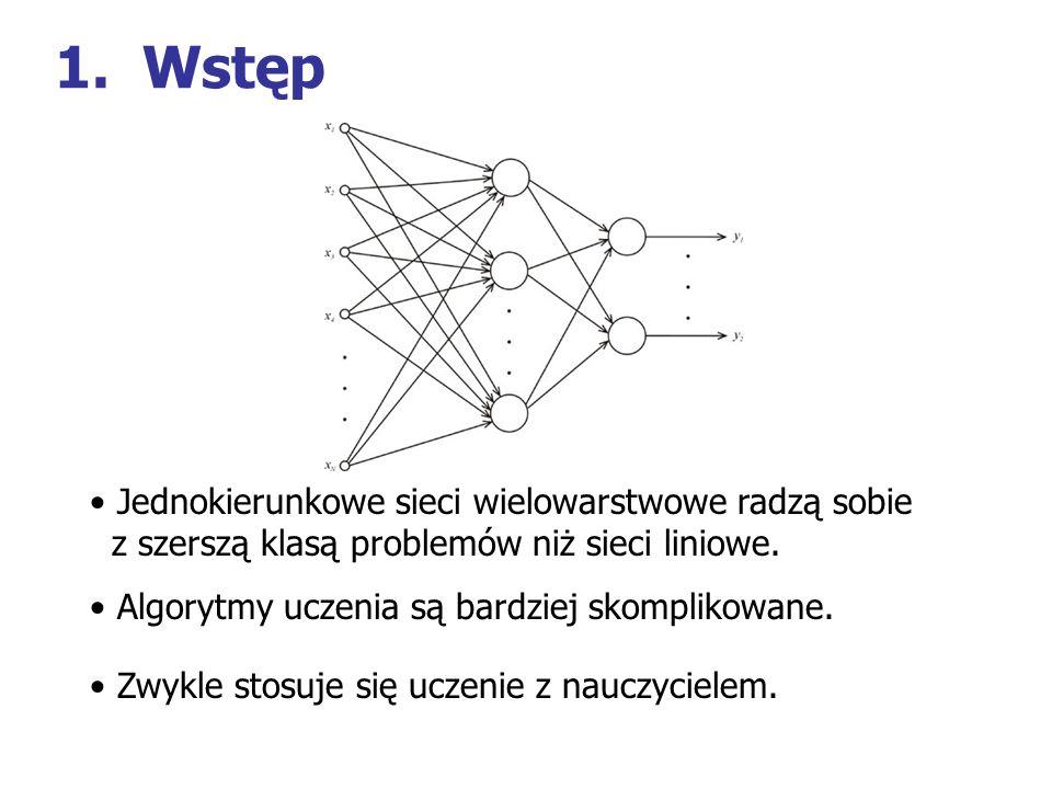 Wstęp Jednokierunkowe sieci wielowarstwowe radzą sobie