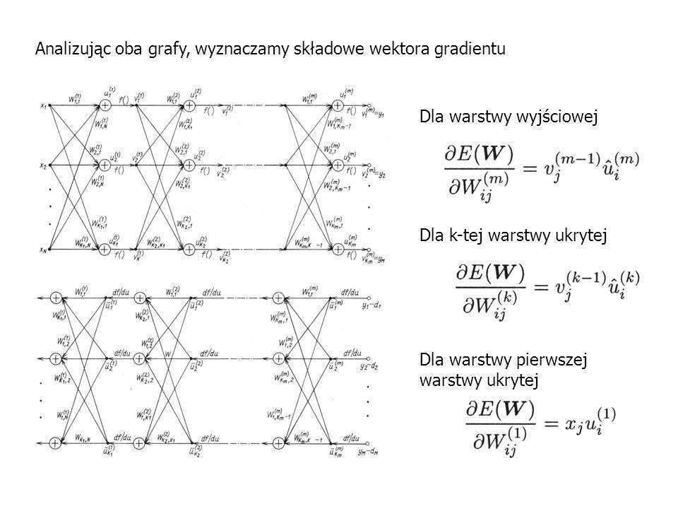 Analizując oba grafy, wyznaczamy składowe wektora gradientu