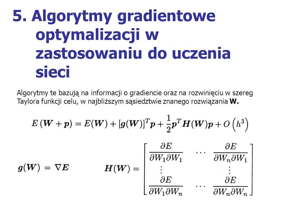 5. Algorytmy gradientowe optymalizacji w zastosowaniu do uczenia sieci