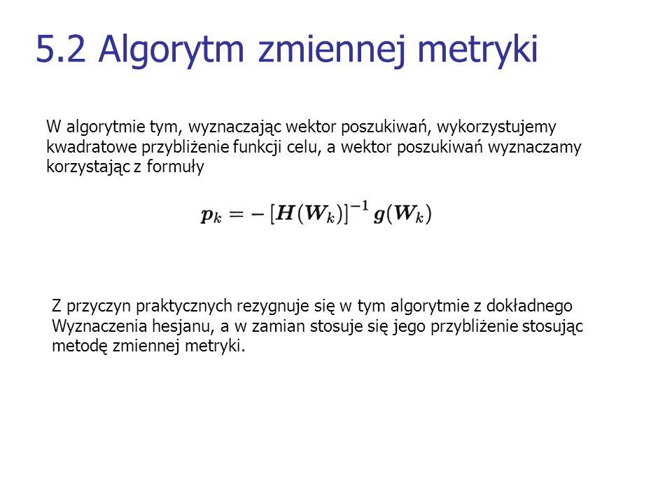 5.2 Algorytm zmiennej metryki