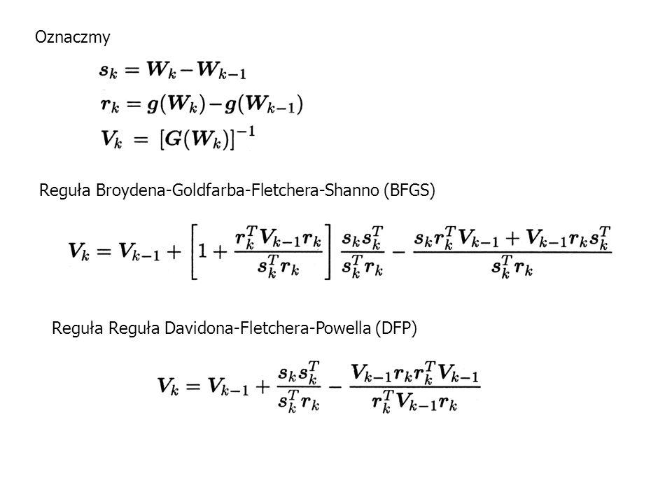 Oznaczmy Reguła Broydena-Goldfarba-Fletchera-Shanno (BFGS) Reguła Reguła Davidona-Fletchera-Powella (DFP)