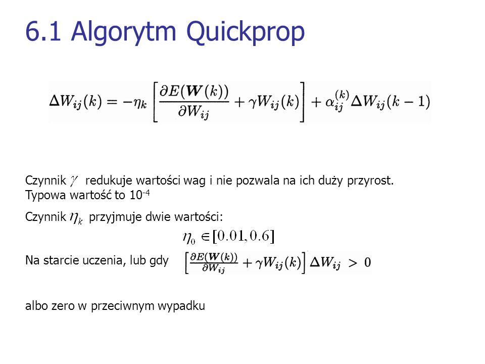 6.1 Algorytm Quickprop Czynnik redukuje wartości wag i nie pozwala na ich duży przyrost. Typowa wartość to 10-4.