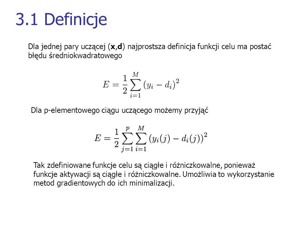 3.1 Definicje Dla jednej pary uczącej (x,d) najprostsza definicja funkcji celu ma postać. błędu średniokwadratowego.