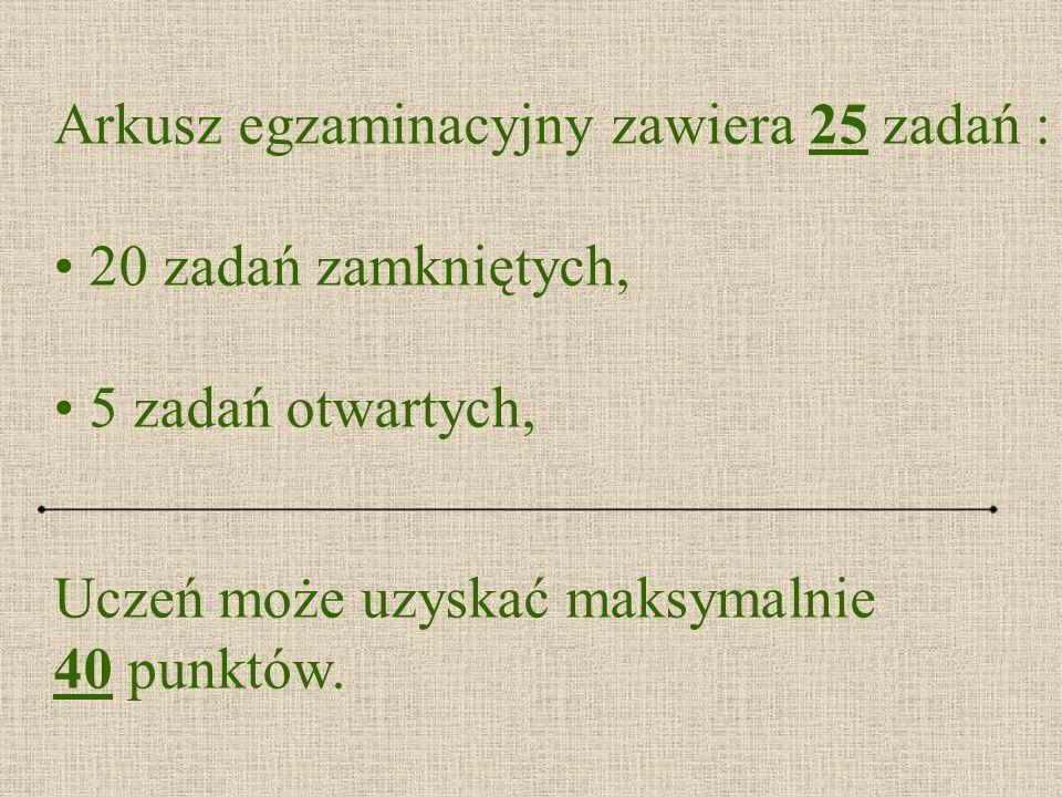 Arkusz egzaminacyjny zawiera 25 zadań :