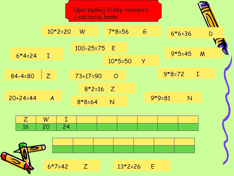 Układaj liczby w kolejności od najmniejszej do największej.