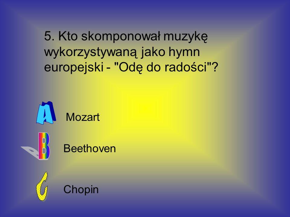 5. Kto skomponował muzykę wykorzystywaną jako hymn europejski - Odę do radości