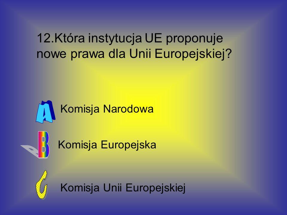 12.Która instytucja UE proponuje nowe prawa dla Unii Europejskiej