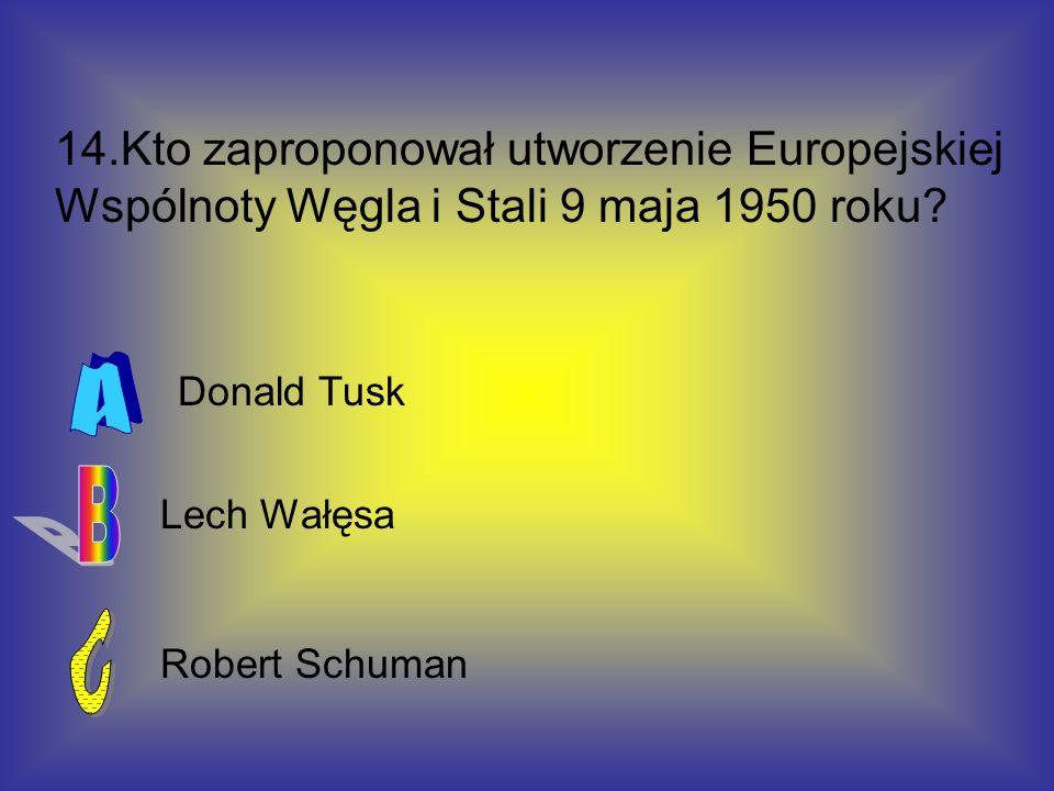 14.Kto zaproponował utworzenie Europejskiej Wspólnoty Węgla i Stali 9 maja 1950 roku