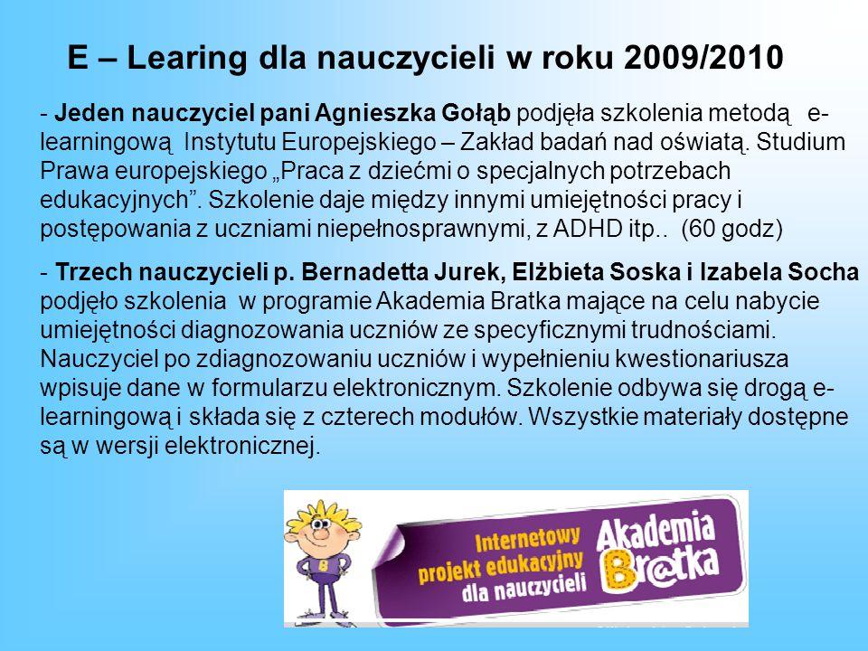 E – Learing dla nauczycieli w roku 2009/2010
