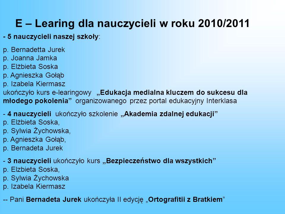 E – Learing dla nauczycieli w roku 2010/2011