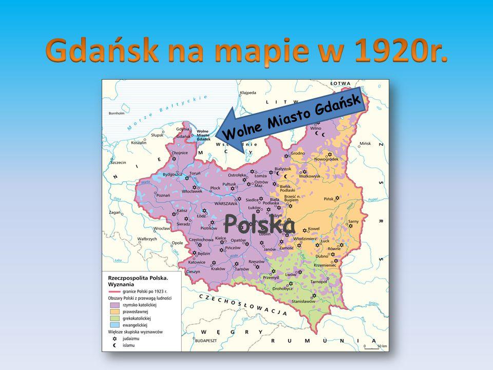 Gdańsk na mapie w 1920r. Wolne Miasto Gdańsk Polska