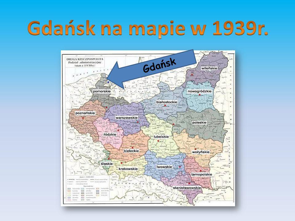 Gdańsk na mapie w 1939r. Gdańsk