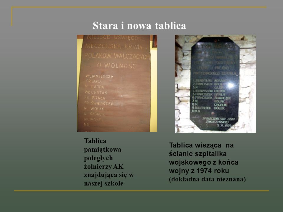 Stara i nowa tablica Tablica pamiątkowa poległych żołnierzy AK znajdująca się w naszej szkole.