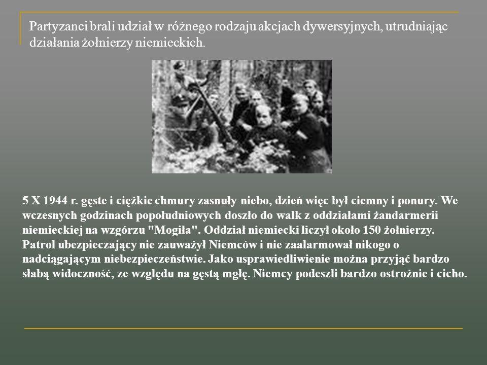 Partyzanci brali udział w różnego rodzaju akcjach dywersyjnych, utrudniając działania żołnierzy niemieckich.