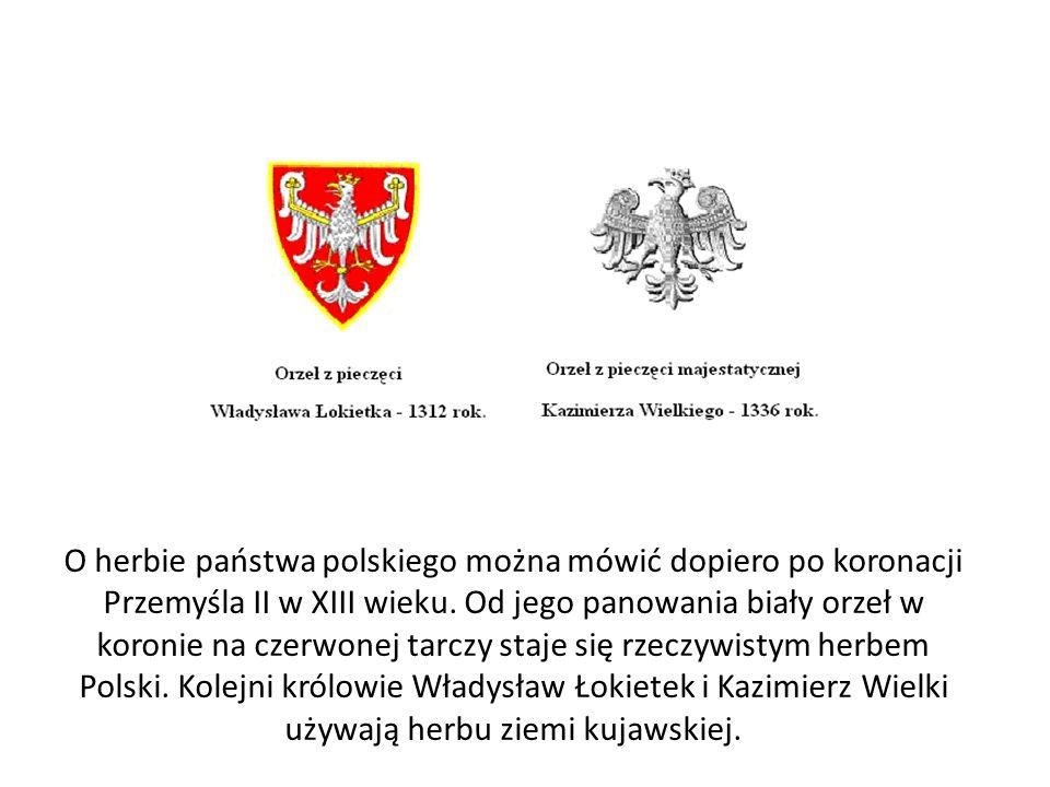 O herbie państwa polskiego można mówić dopiero po koronacji Przemyśla II w XIII wieku.