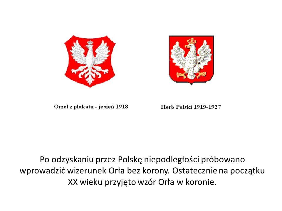 Po odzyskaniu przez Polskę niepodległości próbowano wprowadzić wizerunek Orła bez korony.