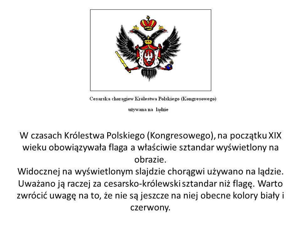 W czasach Królestwa Polskiego (Kongresowego), na początku XIX wieku obowiązywała flaga a właściwie sztandar wyświetlony na obrazie.