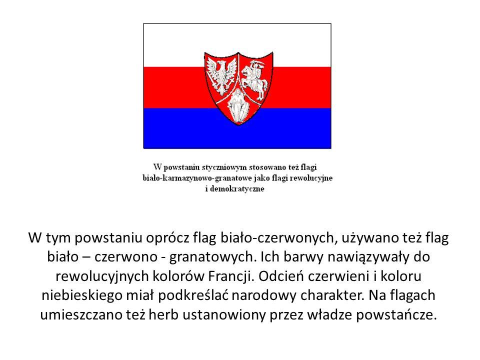 W tym powstaniu oprócz flag biało-czerwonych, używano też flag biało – czerwono - granatowych.
