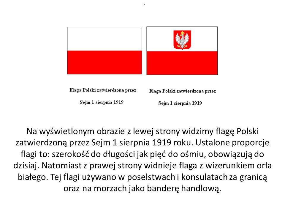 Na wyświetlonym obrazie z lewej strony widzimy flagę Polski zatwierdzoną przez Sejm 1 sierpnia 1919 roku.