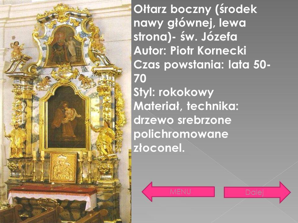 Ołtarz boczny (środek nawy głównej, lewa strona)- św. Józefa
