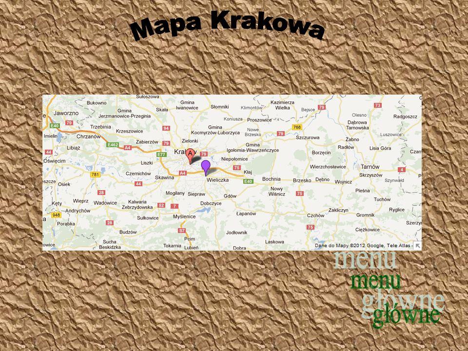 Mapa Krakowa menu główne