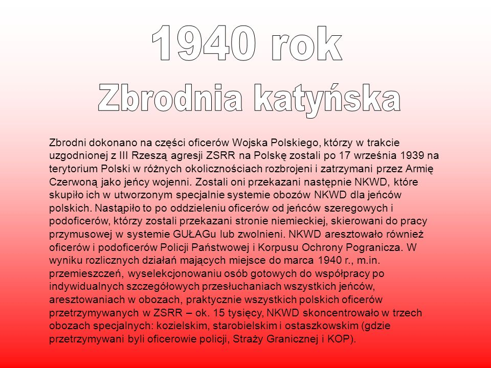 1940 rok Zbrodnia katyńska.