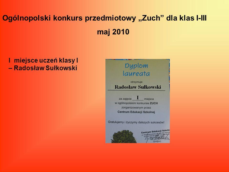 """Ogólnopolski konkurs przedmiotowy """"Zuch dla klas I-III maj 2010"""