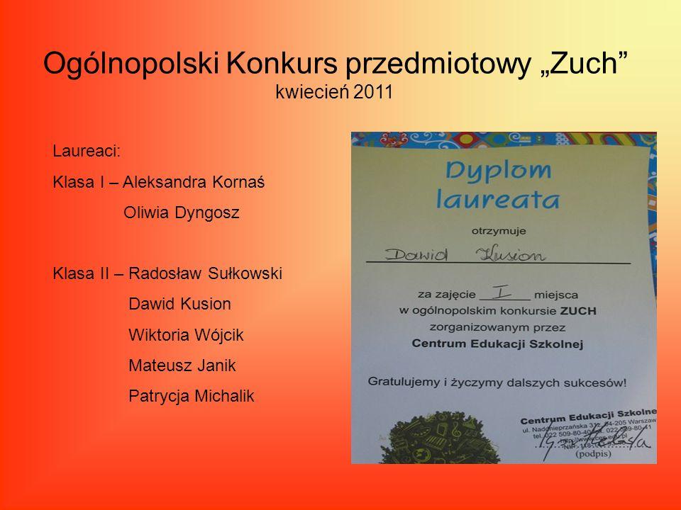 """Ogólnopolski Konkurs przedmiotowy """"Zuch kwiecień 2011"""