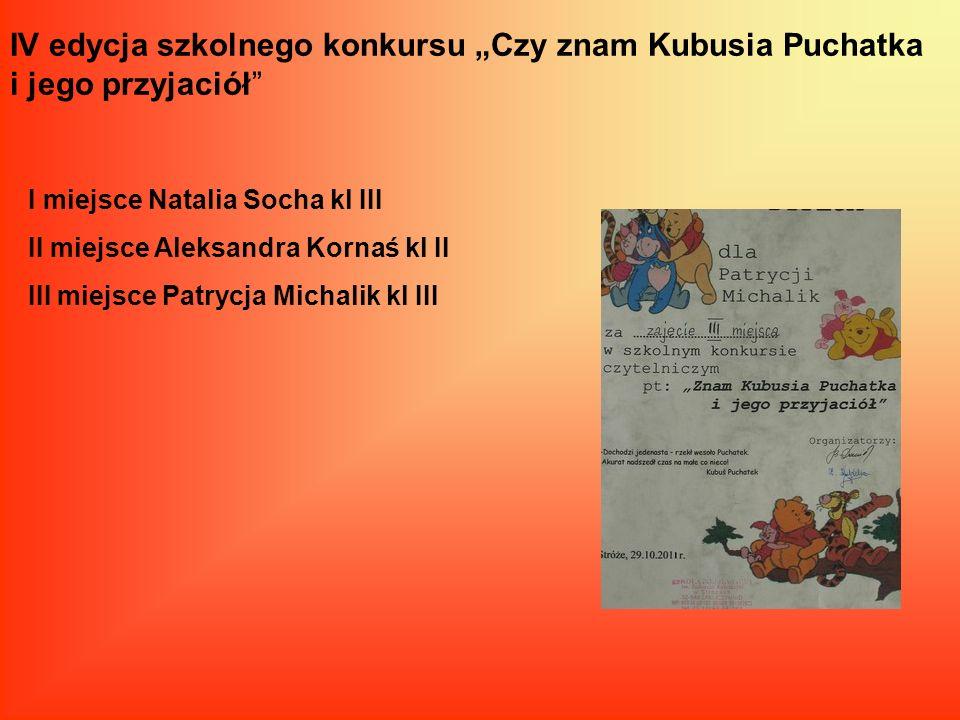 """IV edycja szkolnego konkursu """"Czy znam Kubusia Puchatka i jego przyjaciół"""