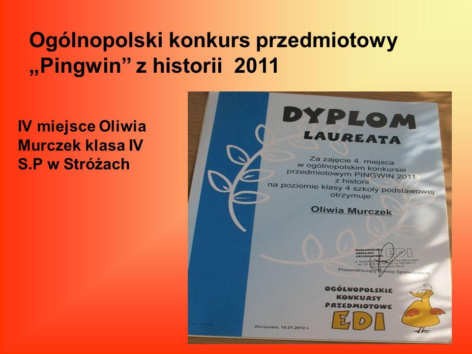 """Ogólnopolski konkurs przedmiotowy """"Pingwin z historii 2011"""