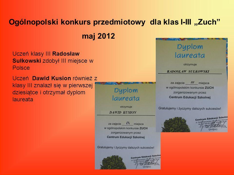 """Ogólnopolski konkurs przedmiotowy dla klas I-III """"Zuch maj 2012"""
